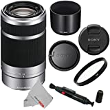 Sony E 55-210mm (SEL55210) F4.5-6.3 OSS Lens for Sony E-Mount Cameras (Silver) With UV Filter, Cleaning Pen & CS Microfiber Cleaning Cloth