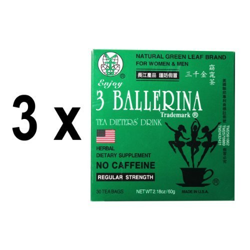 3 Pack Of 3 Ballerina Dieters Tea For Men And Women (3 Boxes Of 30 Tea Bags)