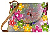 Snoogg multicolored daisies and butterflies 2663 Womens Carry Around Sling Bags
