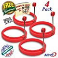NEW Chef Silicone Egg - Pancake Breakfast Sandwiches - Benedict Eggs - Omelets and More Nonstick Mold Ring Round, RED (4-pack)