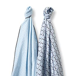 SwaddleDesigns SwaddleDuo, Modern Duo (Set of 2 in Pastel Blue)