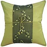 Avarada Striped Mei Flower Decorative Throw Pillow Cover 16x16 Inch Green