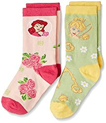 Walt Disney Girls' Socks (RDWD-1751/1752_Light Green and Pink_8 - 9 years)
