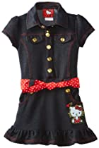 Hello Kitty Girls 2-6X Denim Dress, Dark Indigo, 2T