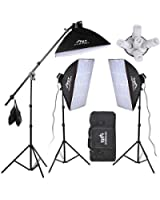 15x190w ampoule Kit complet d'éclairage professionnel Photo Studio Softbox kit d'éclairage continu 2850W,3*stands d'éclairage et 1*perche bras avec sac de sable,avec panneau réflecteur/diffudeur pliable de 110cm,avec sac fourni