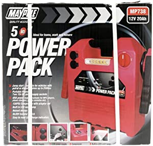 Maypole 738 USB Light Power Pack Compressor, 12 V, 20 Ah, 120 Psi
