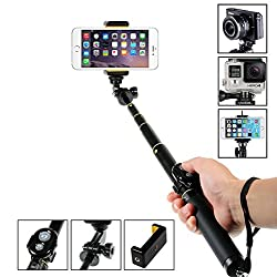 SumacLife Compact Foldable Bluetooth Aluminum Extendable Selfie Stick & Bluetooth Camera Shutter, Monopod Selfie Handheld Stick Pole Adjustable Holder for GoPro iPhone Samsung HTC iOS Andriod Cellphone Smartphones