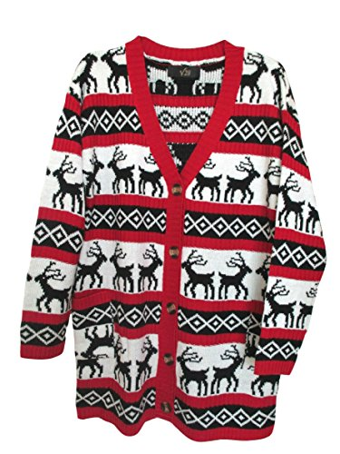 Womens-Oversized-Christmas-Reindeer-Cardigan