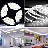Continu Unsealed non waterproof 30 Meter White 300 Led Strip Light Flexiable Tape Ribbon 5050 SMD 60 LEDs per meter + Adapter + Power Supply 12V 2A--- ideal for Kitchens, Home Led Lighting, Bars, Restaurants Decoration--30 Meter