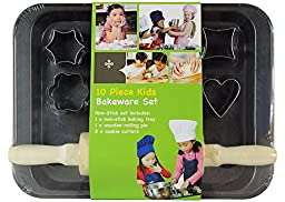 Kids Cookie-Cutter Bakeware 10-Piece Set and Rolling Pin by Kitchen Supplies