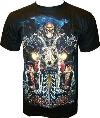 ROCK CHANG T-SHIRT Hell Rider (Glow In The Dark - lueur dans l'obscurité) Noir Black GR 369 (s m l xl xxl) (S)