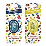 JELLY BELLY TWIN PACK CAR VENT CLIP AIR FRESHENER SCENTS - BLUEBERRY + TOP BANANA