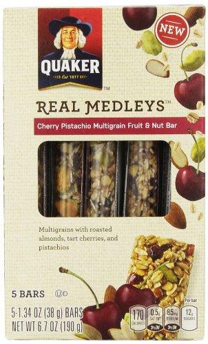 Quaker Real Medleys Multigrain Fruit and Nut Bar, Cherry Pistachio, 6.7 Ounce (Pack of 8) (030000317969)