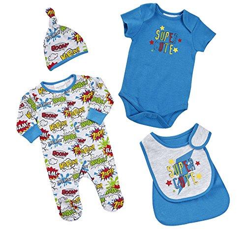 BabyTown-bb-garons-Superhero-Comic-nouveau-n-Grenouillre-Body-4-pices-Coffret-Cadeau