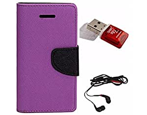 Avzax Diary Look Flip Wallet Case Cover For Samsung Galaxy A5(2016) SM-A710 (Purple) + Memory Card Reader + In Ear Headphone