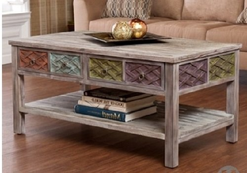 Unique Rustic Wood Coffee Table - This Weathered White Washed ...Distressed Style Cocktail Table With 2 Drawers And Storage Make A Striking Accent Table front-569608