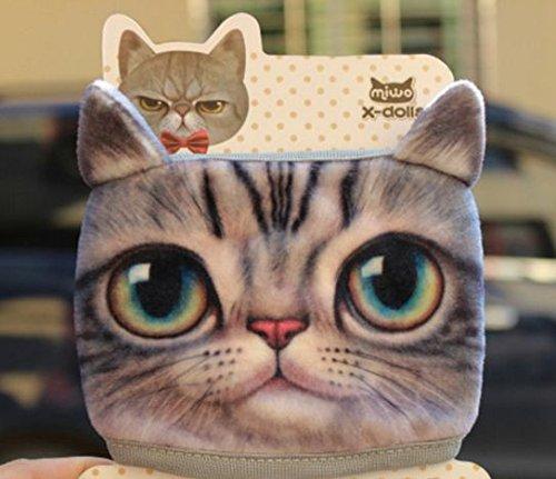 【未来ワールド】 24 3D アニマル 動物 布マスク かわいい おもしろグッズ 綿生地 さらさら 花粉 寒さ対策 犬 猫 虎 (ネコ グレー) & 活性炭不織布ブラックマスク3枚