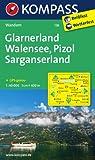 Glarnerland - Walensee - Pizol - Sarganserland: Wanderkarte. GPS-genau. 1:40000