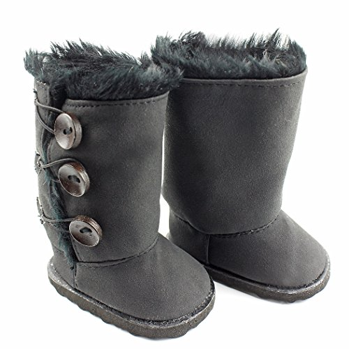 Ebuddy Black Button Style Snow Doll Shoes Boots Fits 18 Inch Girl Dolls - 1