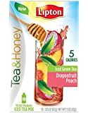 Lipton Tea and Honey To Go Packets Iced Green Tea, Dragonfruit Peach,  10 Count (Pack of 6)