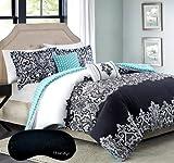 Modern Chic KING / CAL KING Black White Teal Damask Comforter, 2 Shams, 2 Decorative Pillows + Home Style Brand Sleep Mask 6 Pc. Bedding Set (King/ Cal King)