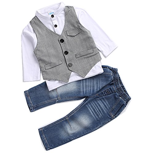 Kids Boys Clothing Sets Shirt and Vest Jeans Clothes Suit for 2 to 5 Age Little Boy (2T)