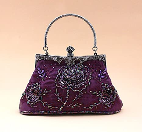 Ecosusi Exquisite Antique Seed Beaded Rose Evening Handbag, Clasp Purse Clutch (purple)