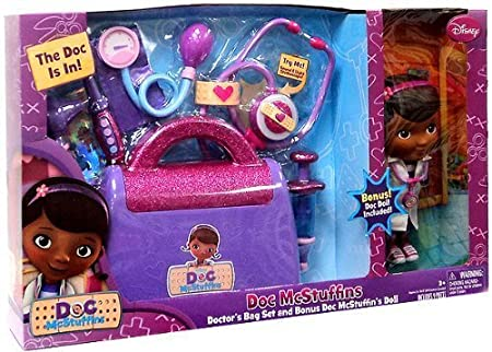 Doc Mcstuffins Doctor's Bag exclusive Gift Set with Doc Mcstuffins Doll & Sounds Light Stethoscope by JUST PLAY TOY (English Manual)