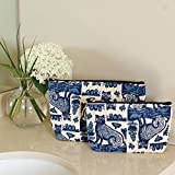 RockFlowerPaper Royal Cats Navy Cosmetic Bags Set of 2