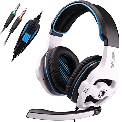Sades SA810 3,5 millimetri audio surround Stereo PC Gaming Headset fascia delle cuffie con microfono per PC / Laptop Over-the-Ear controllo del volume (bianco)