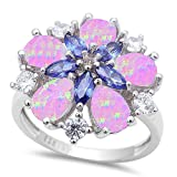 Lab Created Pink Opal, Simulated Tanzanite, & Cz Flower .925 Sterling Silver Ring Sizes 5-10