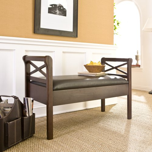 SEI Espresso Faux-Leather Storage Bench
