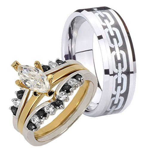 4 Pcs Black Tungsten Center Chain & 18K Gold Ep Silver 925 Marquise Cz Engagement Ring Set Sz 8, 13