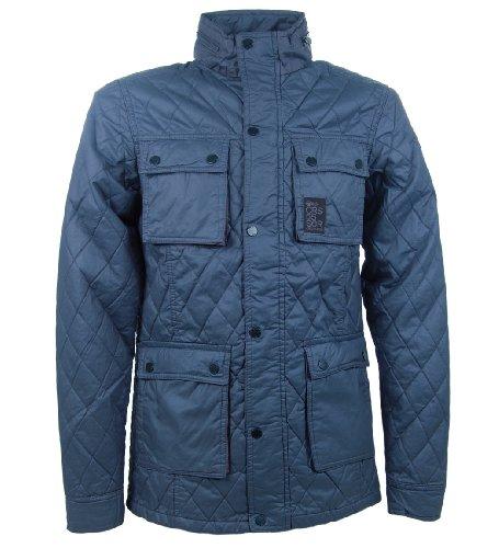 Crosshatch 'Butcher' Men's Quilted Multi-Pocket Jacket Blue L