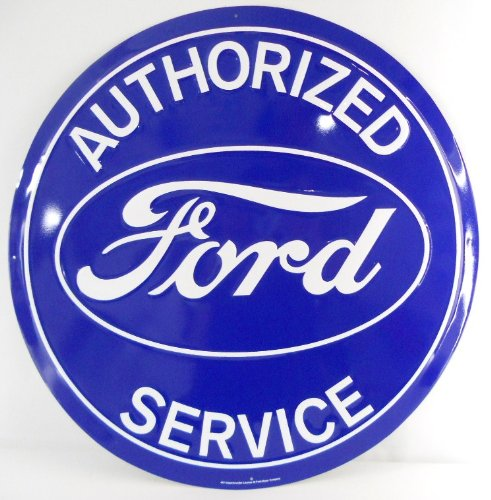 """Ford Authorized Service 24"""" Extra Large Metal Sign Blue"""
