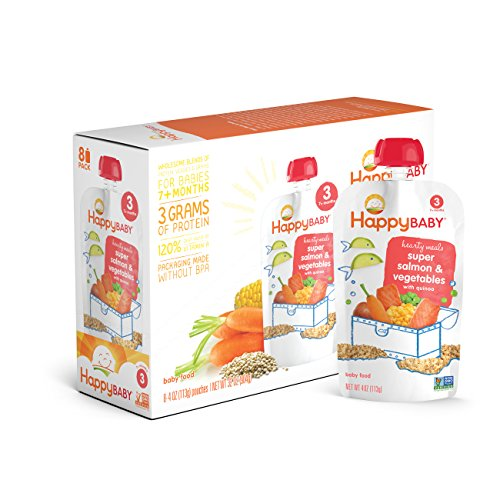 Happy Baby Organic Stage 3 Baby Food, Hearty Meals, Super Salmon & Vegetables with Quinoa, 4 oz (Pack of 16) (Dr Sears Baby Food compare prices)