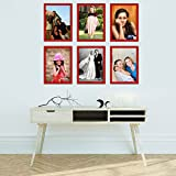 Elegant Arts & Frames High Quality PVC Group Collage Photo Frame Set Of 6 Red