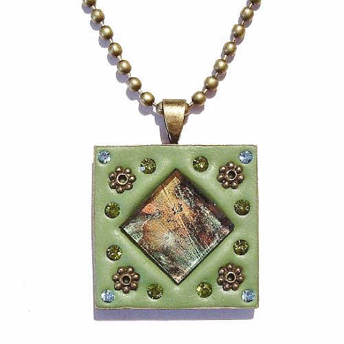 mosaic-pendant-no-8-van-gogh-glass-faceted-crystals-sage-green-clay-25-x-25mm