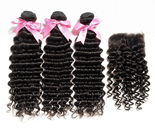 Danolsmann-Hair-Virgin-Human-Hair-with-1-Wavy-Hair-Closure-44-Human-Hair-Weave-Indian-Hair-Deep-Wave-Hair-Extension-Weft-Natural-Black-Color
