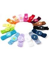Ema Jane - Small Gerbers on Soft Stretch Matching Crochet Headbands (16 Pack)