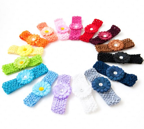 Ema Jane  Small Gerbers on Soft Stretch Matching Crochet Headbands (16 Pack) Picture