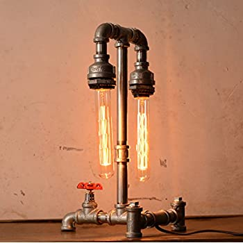 Designer Edison Vintage Style Industrial Steampunk Craftsmanship Interior Retro Pipe Table / Desk / Bedside Lamp (Double Lights)