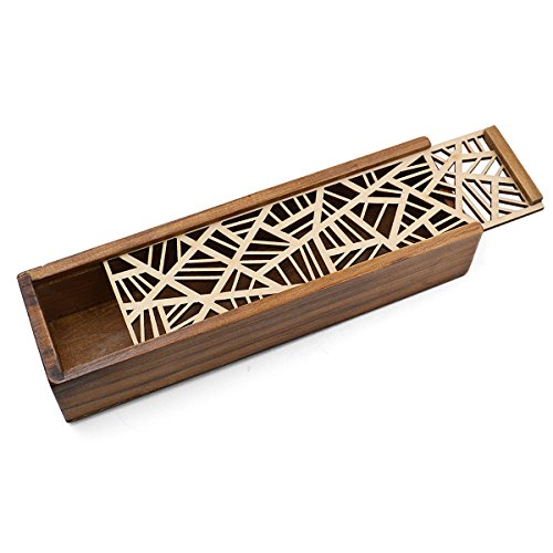 Aisa Wooden Hollow-carved Pencil Box Multifunctional Pencil Case for Student Special Gifts for Children/kids (Mesh pattern)