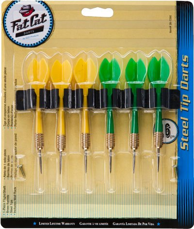 Fat Cat Steel Tip Darts with Rack - 6 Pack