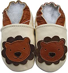 Carozoo Baby Boys\' Lion Cream Soft Sole Leather Shoes 12-18m