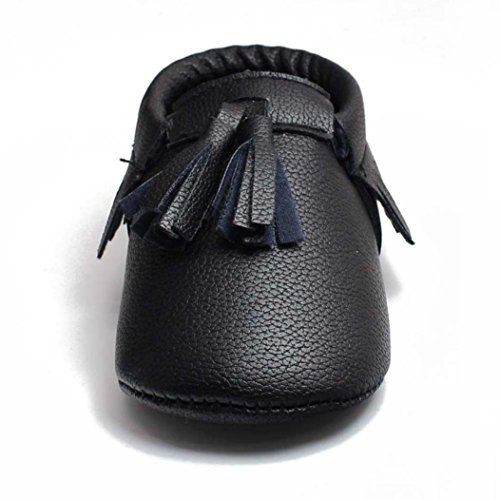 Voberry® Infant Toddlers Baby Boys Girls Soft Soled Tassel Crib Shoes PU Moccasins (0~4 Month, Black)