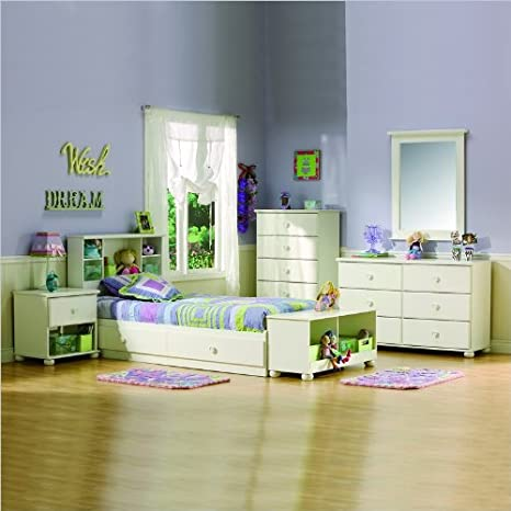 Kids Twin Wood Mates Storage Bed 5 Piece Bedroom Set in White