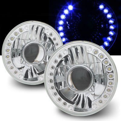 "Remix Custom 7"" Round Smdx18 Drl Blue Led Projector Universal Headlights"