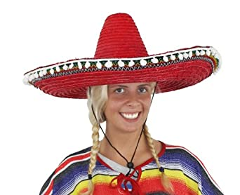 LADIES MEXICAN RED SOMBRERO + MOUSTACHE NOVELTY FANCY DRESS ACCESSORY HAT TAS...