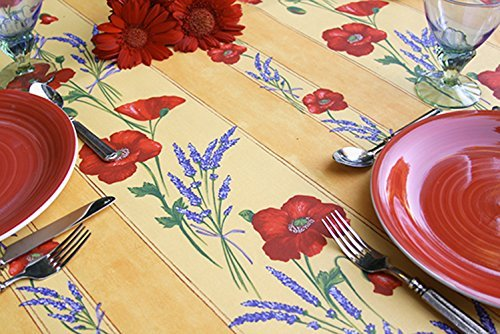72-or-84-inches-rectangular-or-oval-tablecloth-provence-poppies-and-lavender-in-gold-please-choose-t